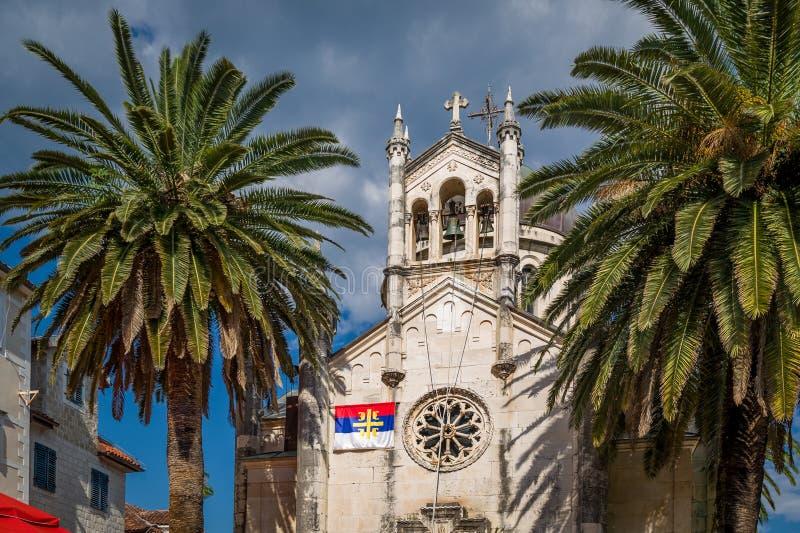 Oude kerk Van Montenegro in de stadscentrum van Herceg Novi royalty-vrije stock foto