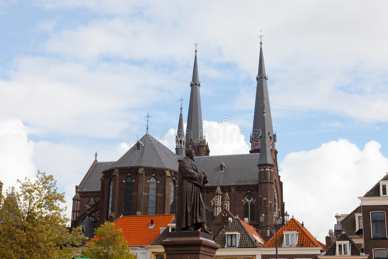 Oude Kerk (vieille église) dans la ville de Delft images stock