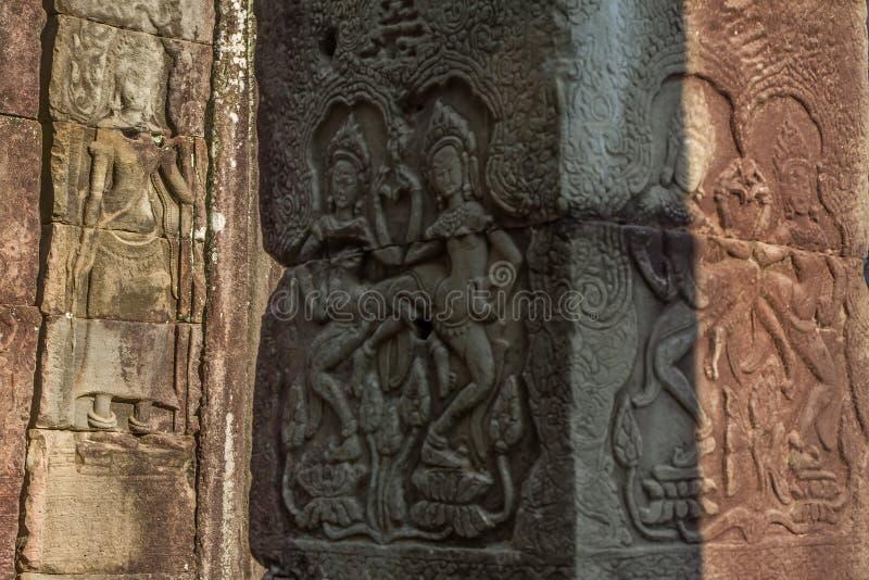 Oude Khmer gravure van Krishna, Angkor stock afbeeldingen