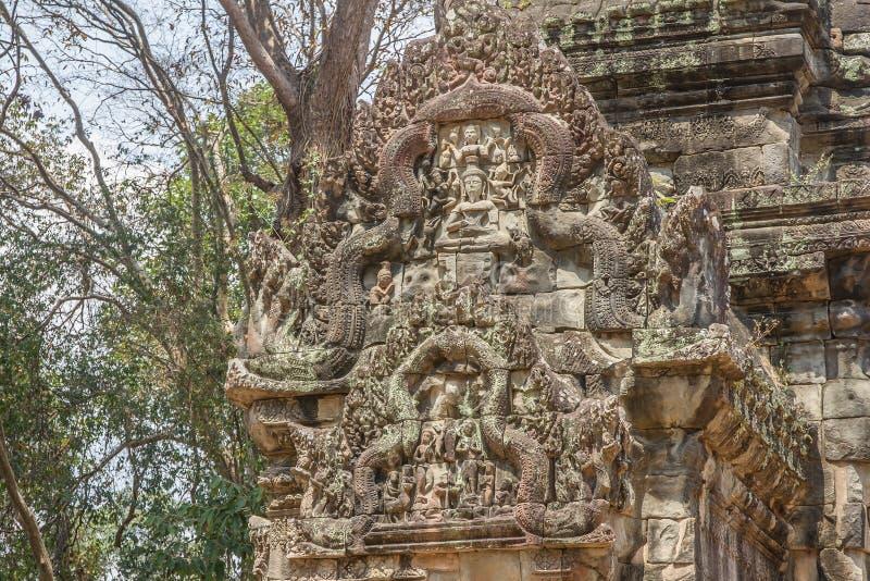 Oude Khmer gravure van Krishna, Angkor royalty-vrije stock fotografie