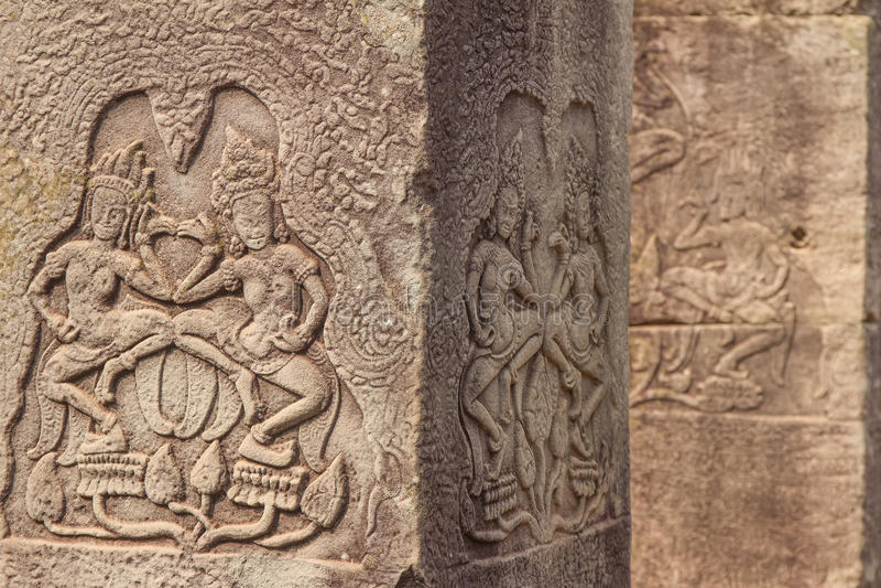 Oude Khmer gravure van Krishna, Angkor stock afbeelding