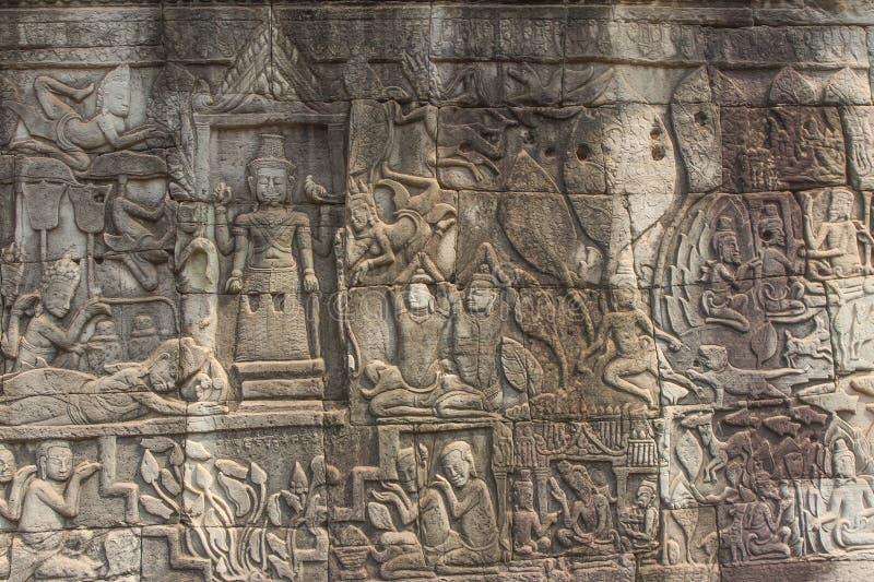 Oude Khmer gravure van Krishna, Angkor royalty-vrije stock afbeelding