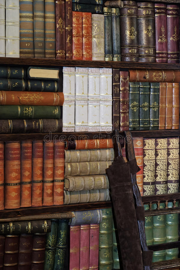 Oude klassieke boeken op boekenrek royalty-vrije stock foto's