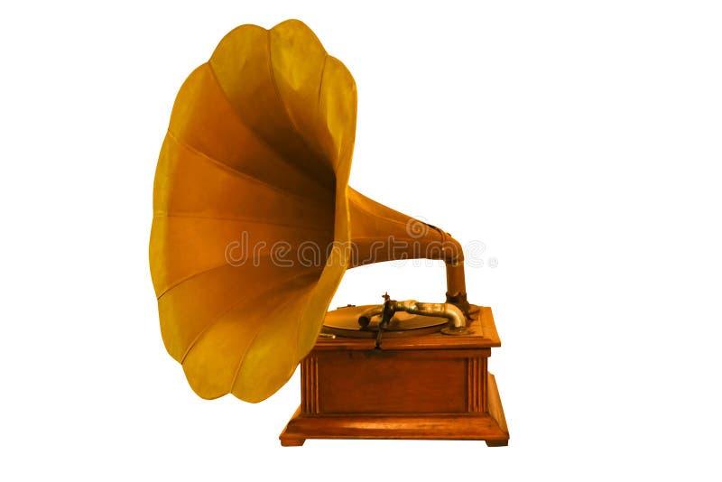 Oude klassieke grammofoon, muziekdoos geïsoleerde witte achtergrond stock afbeelding