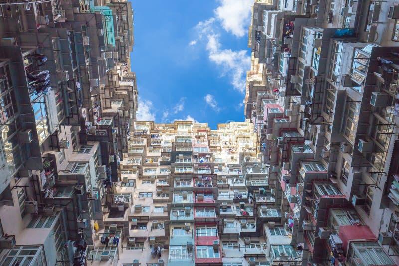 Oude Kleurrijke Flats in Hong Kong, China royalty-vrije stock afbeeldingen
