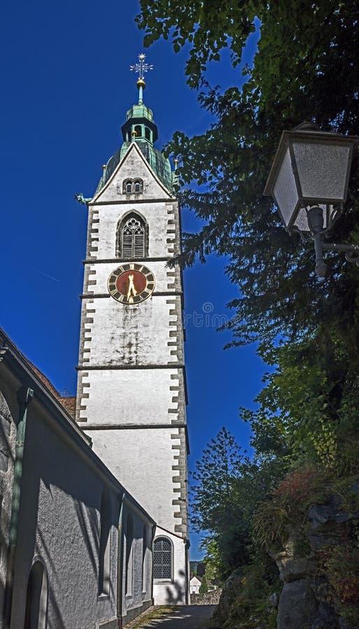 Oude klokketoren in Laufenburg royalty-vrije stock afbeeldingen