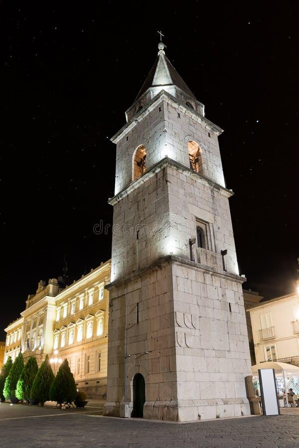 Oude Klokketoren van de Kerk van Santa Sofia in de Nacht van royalty-vrije stock fotografie