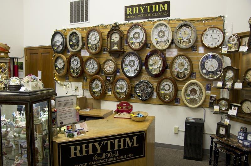 Oude klokwinkel stock afbeelding