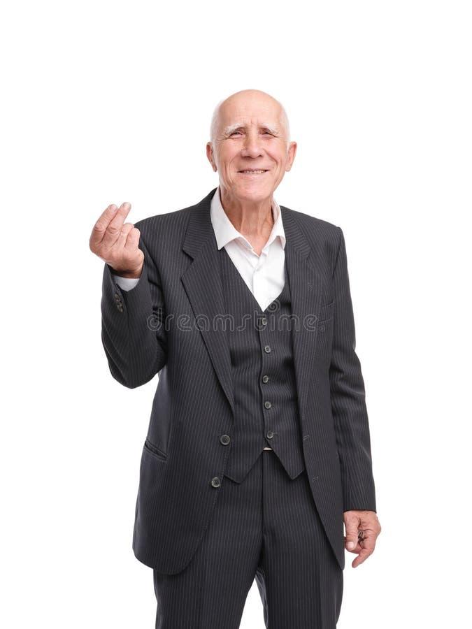 Oude knappe mens in zwart kostuum Gelukkige grandfazer royalty-vrije stock afbeeldingen