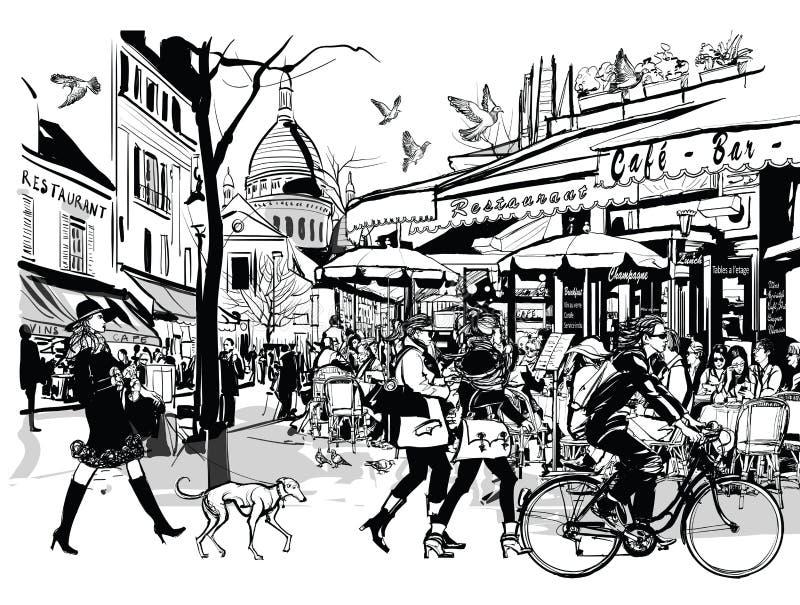 Oude koffie in Parijs Montmartre royalty-vrije illustratie