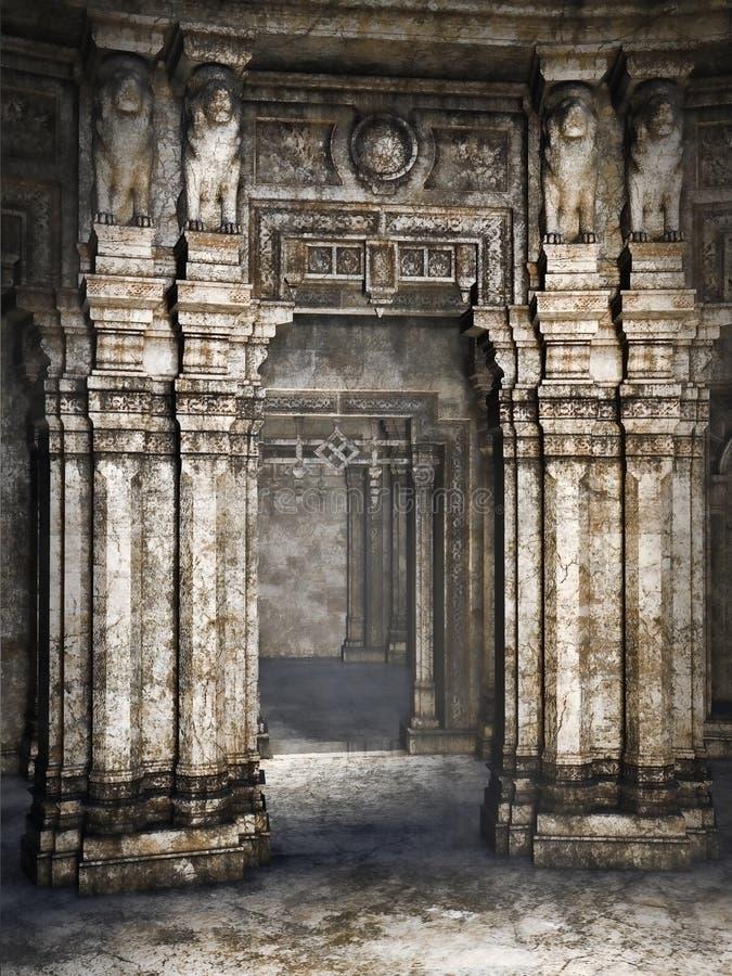 Oude kolommen met standbeelden vector illustratie