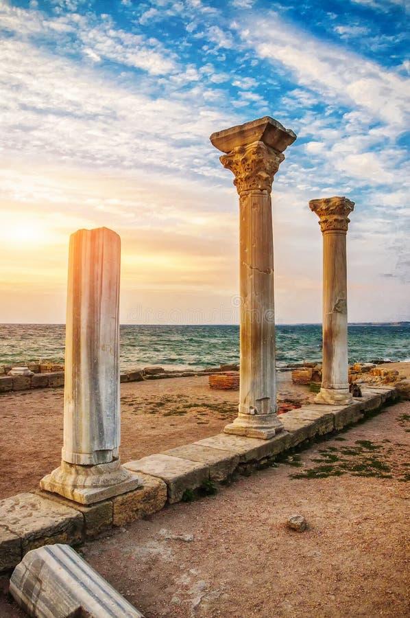 Oude kolommenstad van Chersonese royalty-vrije stock afbeelding