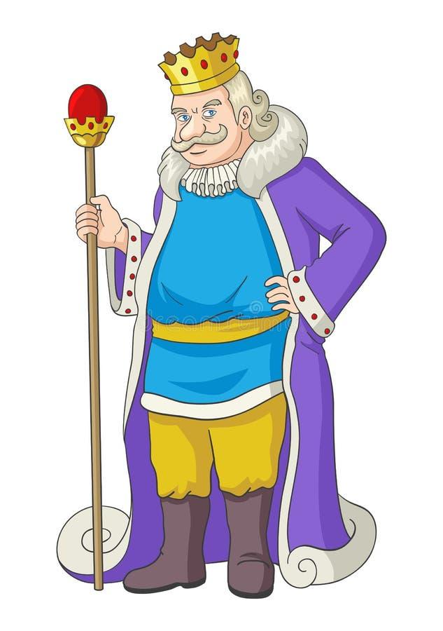 Oude koning die een scepter houden vector illustratie