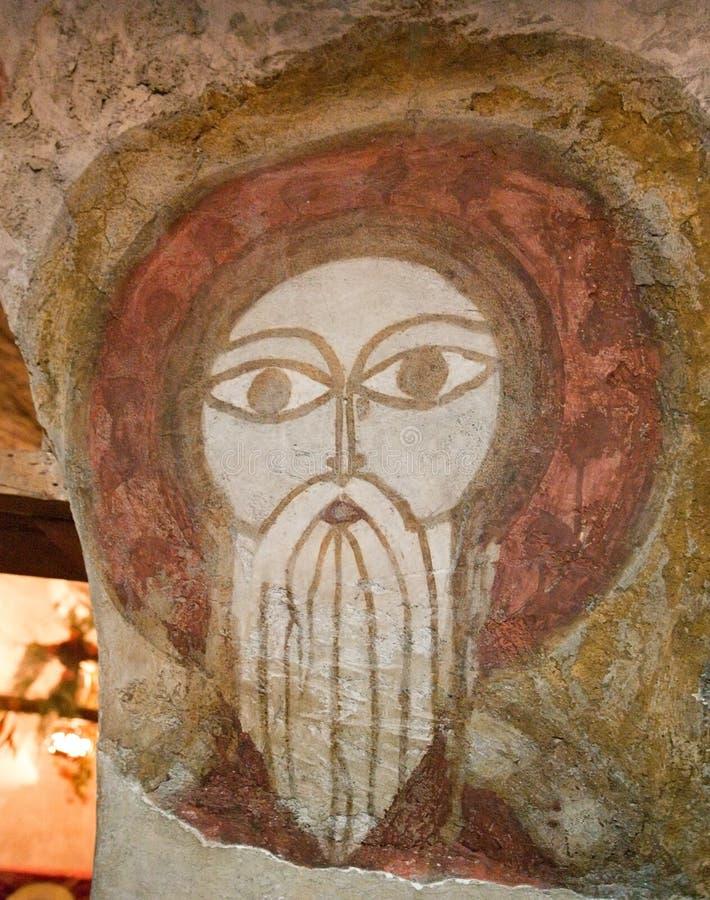 Oude Koptische fresko stock afbeeldingen