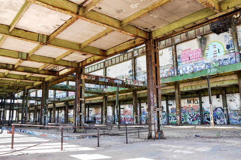 Oude Krachtcentrale: Structureel Staalarchitectuur stock foto's