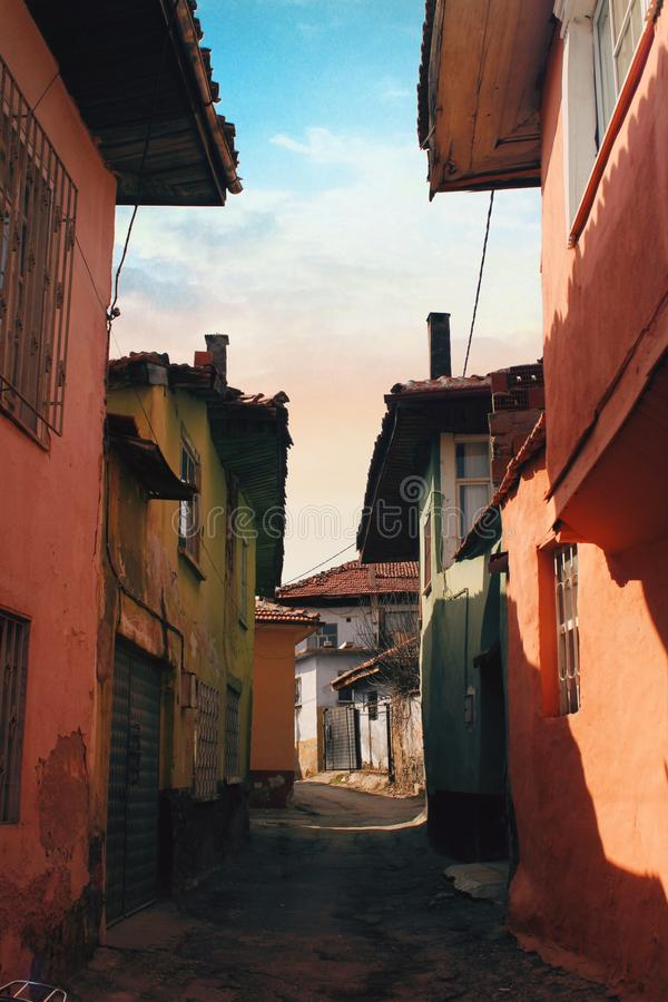 Oude Kula-Huizen van Manisa, Turkije stock afbeeldingen