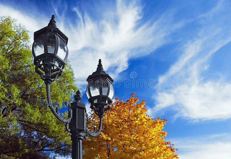 Oude lantaarn op de achtergrond van het de herfstbos royalty-vrije stock afbeeldingen