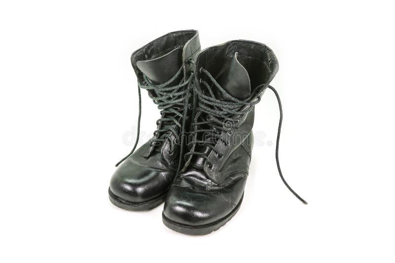 Oude leer militaire laarzen stock foto