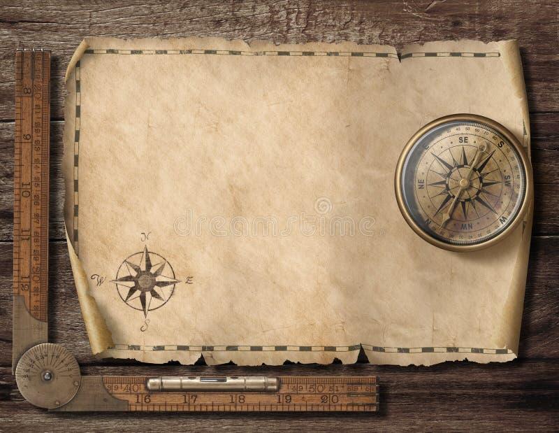 Oude lege kaartachtergrond met kompas Avontuur en reisconcept 3D Illustratie royalty-vrije stock fotografie