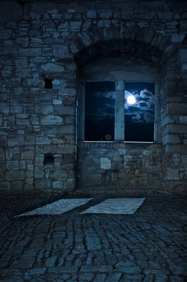 Oude lege kasteelruimte, maanlicht stock foto