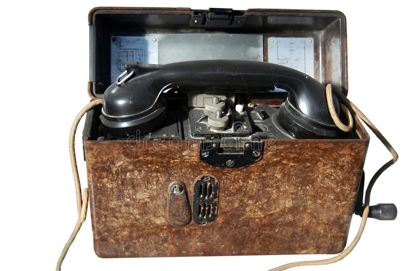 Oude leger draagbare telefoon stock foto afbeelding for Telephone leger