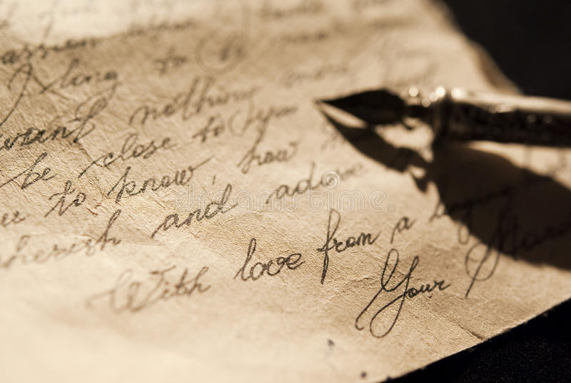 Oude liefdebrief stock foto