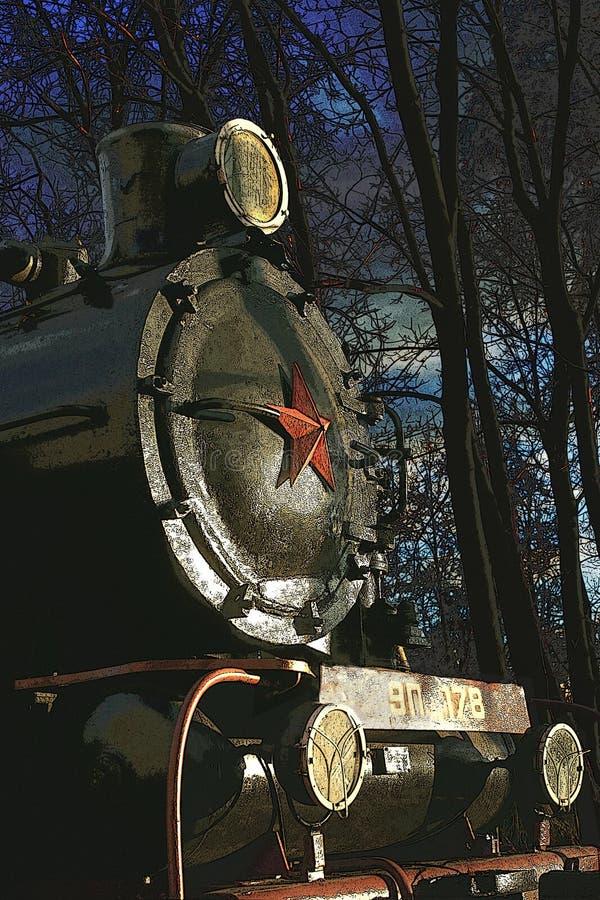 Oude locomotief met een rode ster royalty-vrije stock fotografie