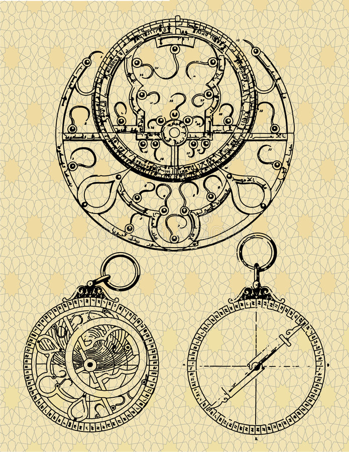 Oude machines royalty-vrije illustratie