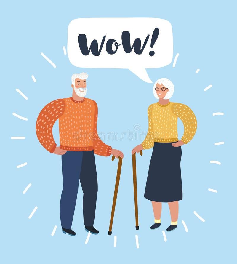 Oude man en het oude vrouwen spreken Bespreking van echtgenoot of vrienden vector illustratie