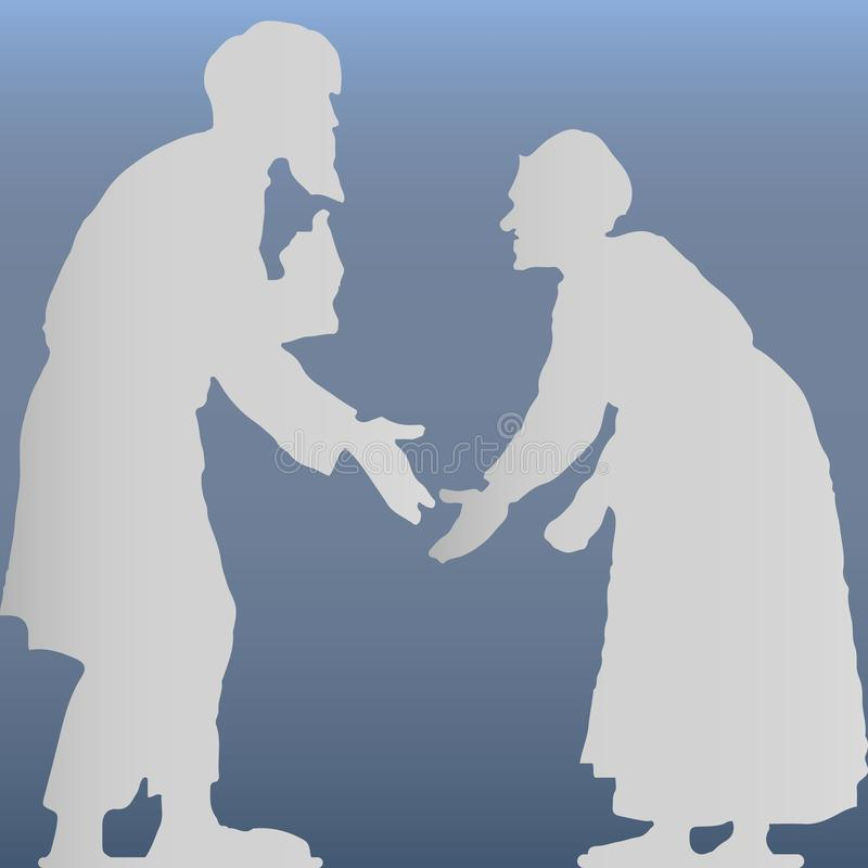 Oude man met een baard en een oude vrouw die, hunched, grijs silhouet op een lichtblauwe achtergrond debatteren stock illustratie