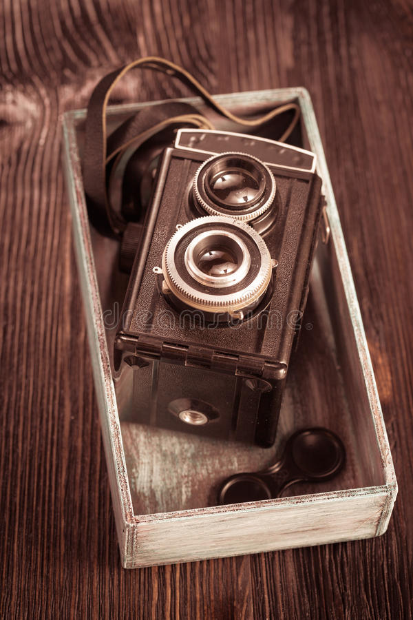 Oude Manier antieke camera stock foto's