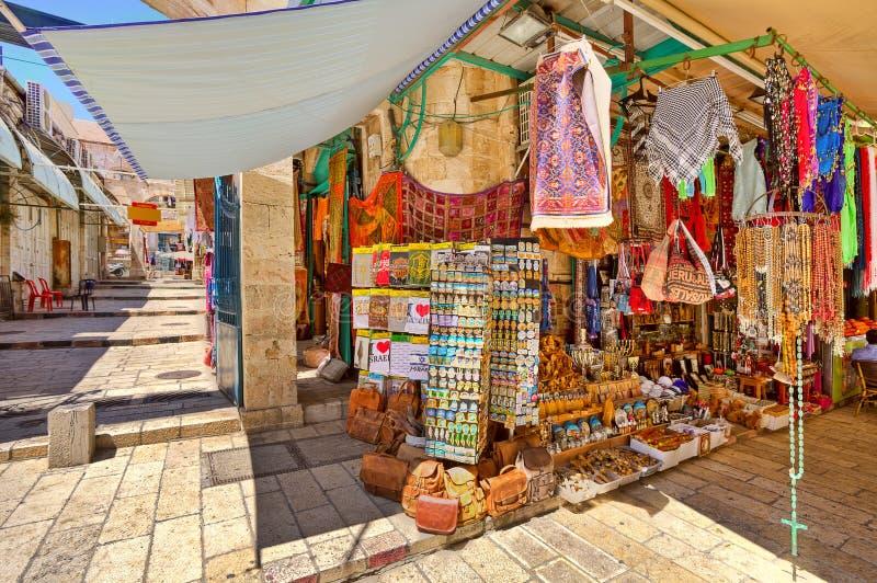 Oude markt in Jeruzalem. stock afbeelding