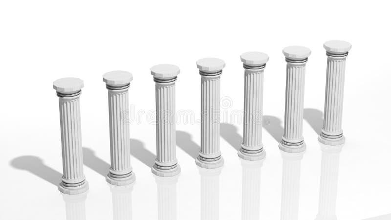 Oude marmeren pijlers stock illustratie