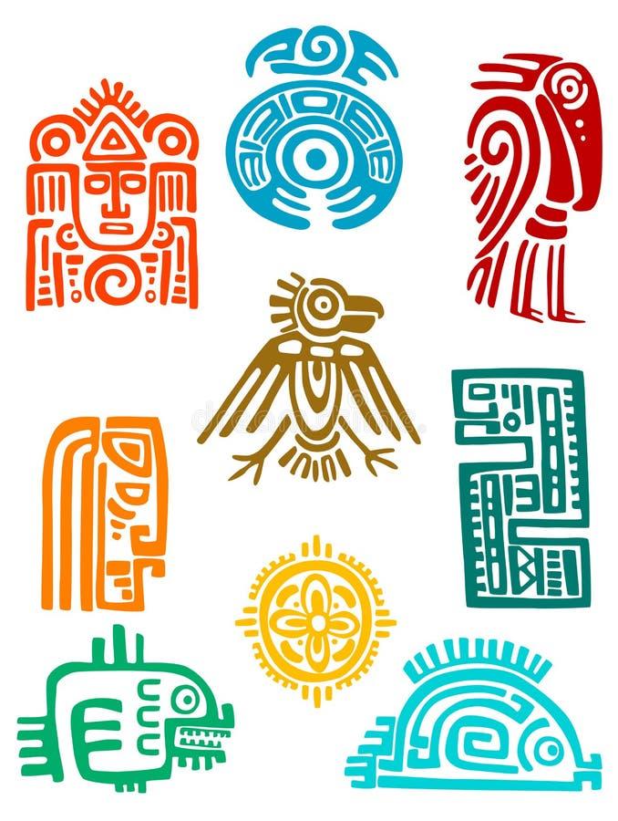 Oude maya elementen en symbolen stock illustratie