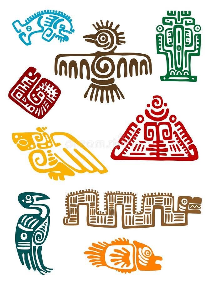 Oude maya monsters stock illustratie