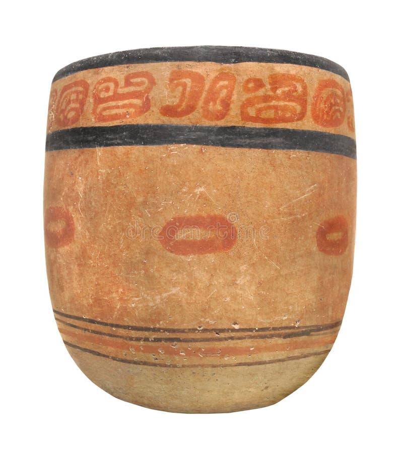 Oude Mayan geïsoleerde aardewerkkom. royalty-vrije stock afbeelding