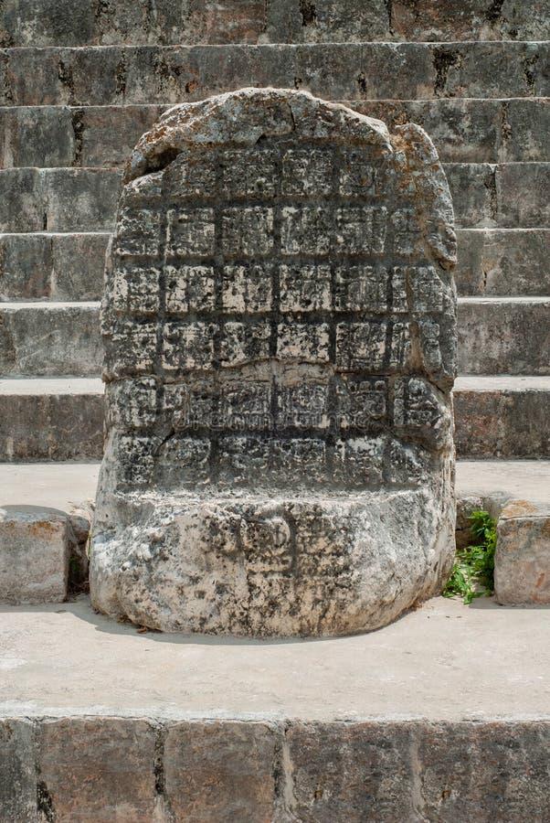 Oude Mayan gravure, op het archeologische gebied van Ek Balam royalty-vrije stock fotografie