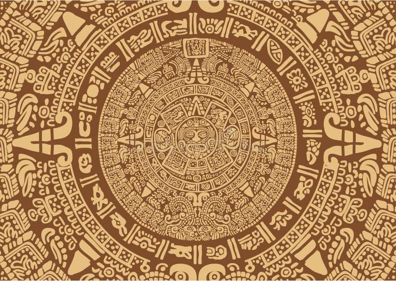 Oude Mayan Kalender stock illustratie