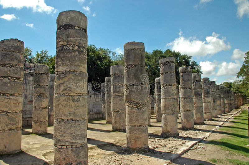 Oude Mayan Kolommen royalty-vrije stock foto's