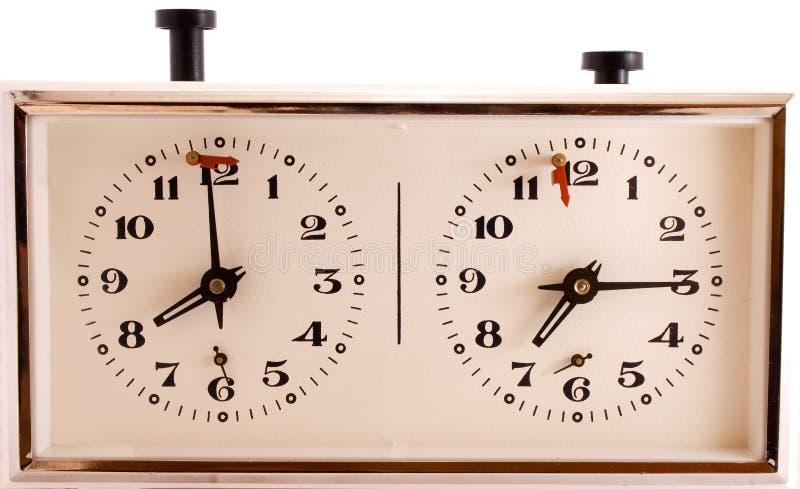 Oude mechanische klok voor schaak royalty-vrije stock afbeelding