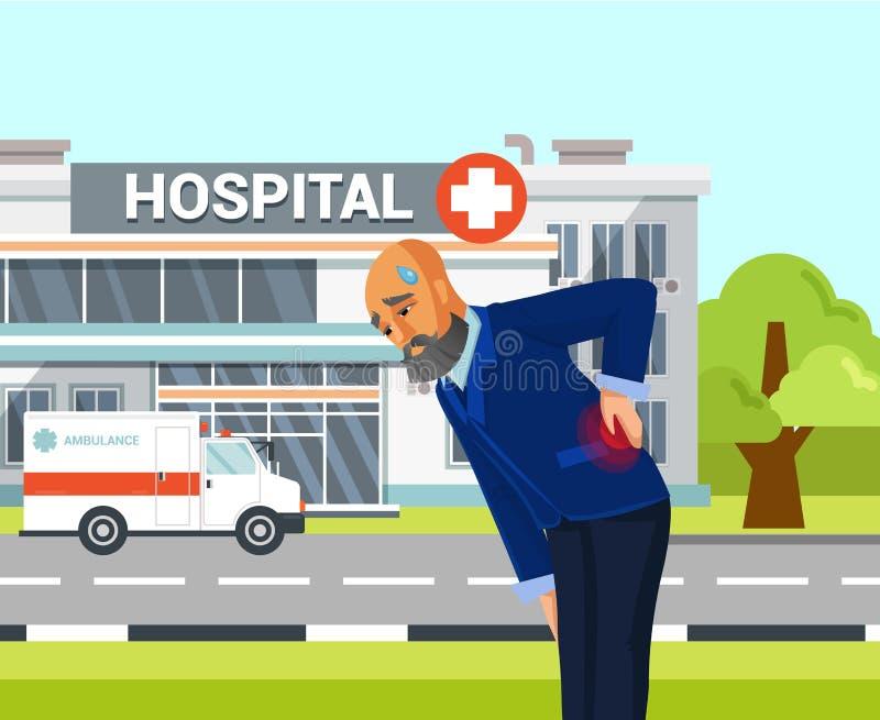 Oude Mens die aan Rugpijn Vlakke Tekening lijden vector illustratie