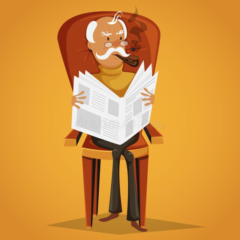 Oude mens die een pijp roken en een krantenzitting op een leunstoel lezen stock illustratie