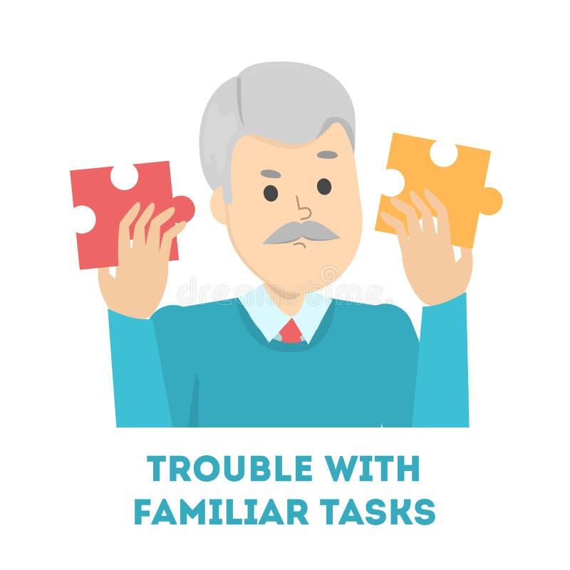 Oude mens die probleem met een vertrouwde taak hebben stock illustratie