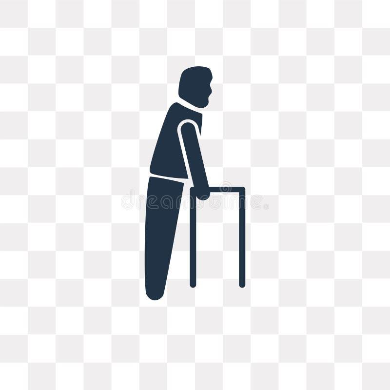 Oude Mens die vectordiepictogram lopen op transparante achtergrond wordt geïsoleerd, stock illustratie