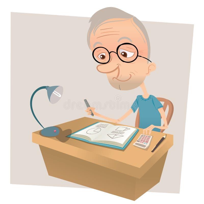 Oude mens die wiskunde doen stock illustratie