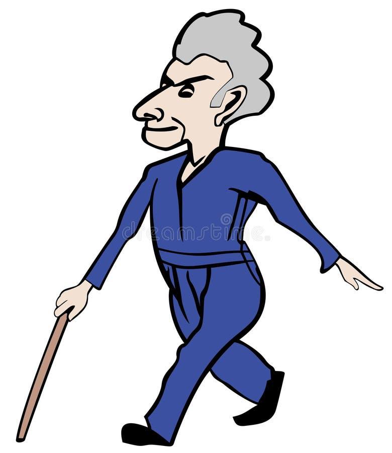 Oude mens in een haast vector illustratie
