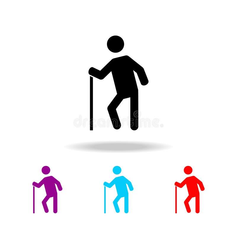 Oude mens Elementen van mensen in verschillende activiteiten in multi gekleurde pictogrammen Grafisch het ontwerppictogram van de stock illustratie