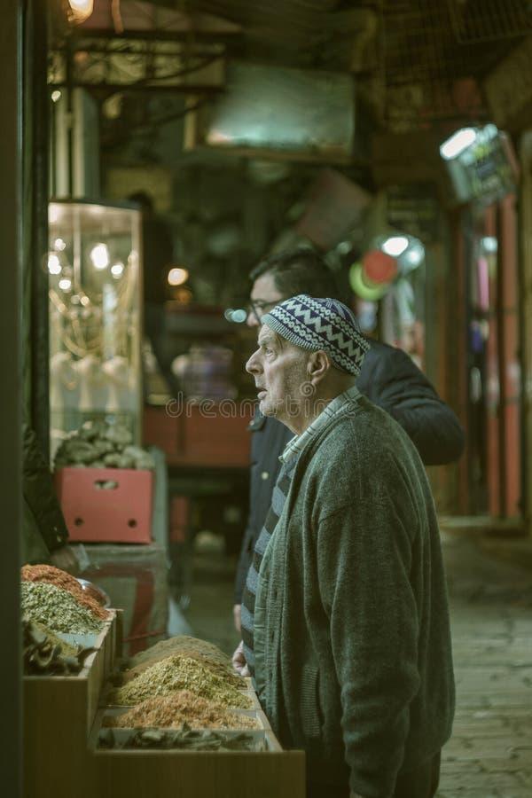 Oude mens in Jeruzalem royalty-vrije stock fotografie