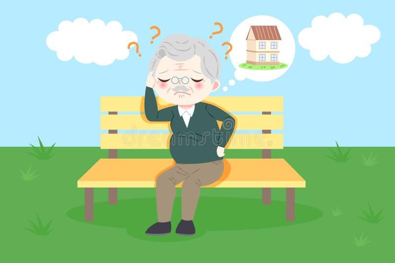 Oude mens met Alzheimer stock illustratie