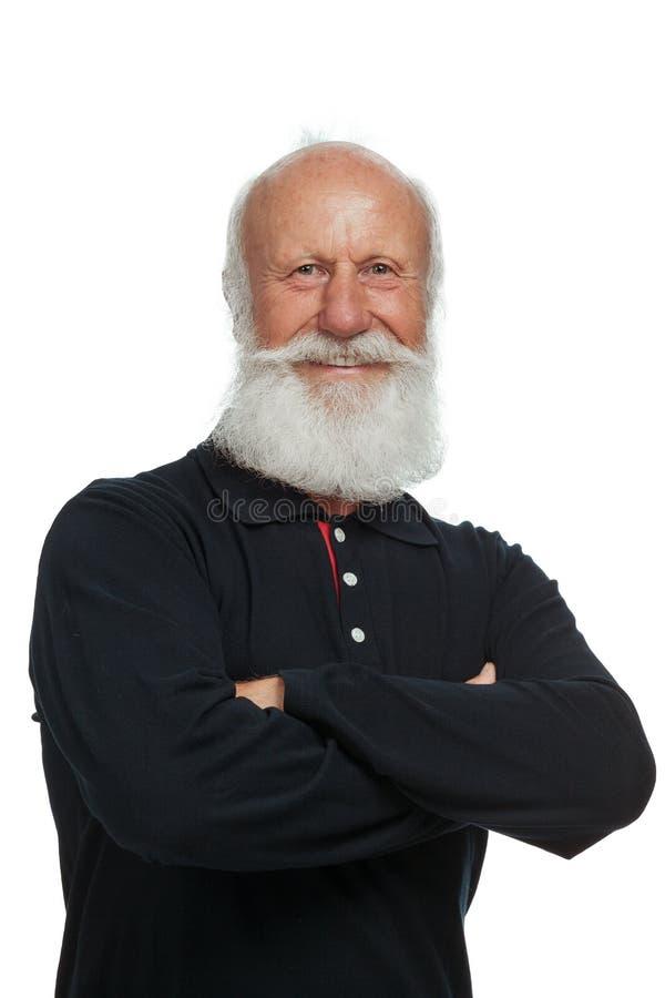 Oude mens met een lange baard stock foto